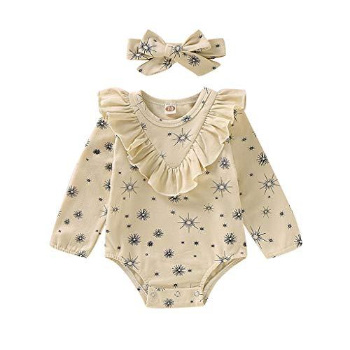 Weilov Infant Bébé Fille Garçon Floral Barboteuse Body Ruffles Bandeaux Tenues Définie Confortable Combinaison Chaud Barboteuse