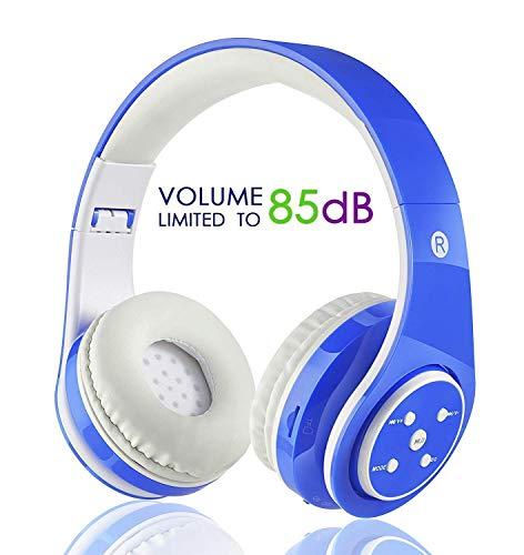 Kabellose Bluetooth Kopfhörer für Kinder Jugendliche ab 5 Kabelloser Kopfhörer Over Ear mit Lautstärkebegrenzung inkl. Radio on Ear drahtloser Faltbarer Kopfhörer mit Mikrofon HiFi Stereo (Blau)