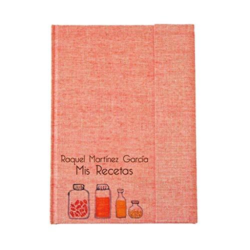 Recetario en blanco personalizado con tu nombre 15x21 | Libro de recetas de cocina para escribir tapa dura A5 | Índice y páginas en español u otros idiomas | Encuadernación artesanal y local