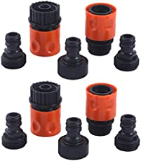 """HQMPC Plastic Garden Hose Connector Garden Quick Connectors 3/4\\"""" GHT Female and Male Couplers 3/4\\"""" Female Males Male Nipples 2sets(10PCS CONNECTORS)"""