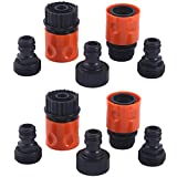 HQMPC Plastic Garden Hose Connector Garden Quick Connectors 3/4' GHT Female and Male Couplers 3/4' Female Males Male Nipples 2sets(10PCS CONNECTORS)