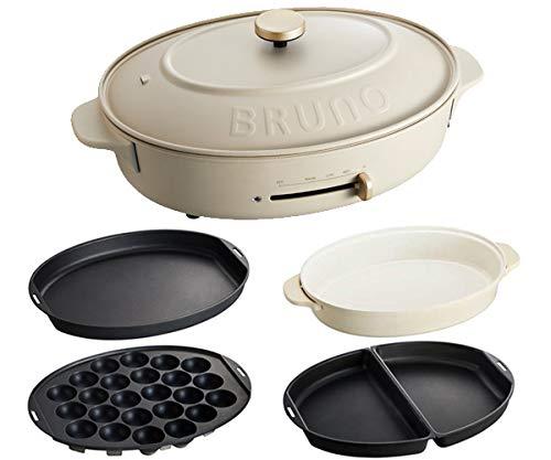 BRUNO ブルーノ オーバルホットプレート 本体 プレート4種 (たこ焼き 深鍋 平面 ハーフ) グレージュ Greige おすすめ おしゃれ かわいい これ1台 一台 蓋 ふた付き 1200w 温度調節 洗いやすい 1人 2人 3人用 小型 ひとり暮らし にも BOE053-GRG 1700537