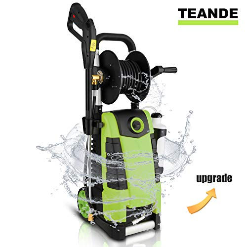TEANDE 3800PSI Electric Pressure Washer, MAX 2.8GPM Electric Power Washer 1800W High Pressure Washer with Hose Reel MR3800 (Green)