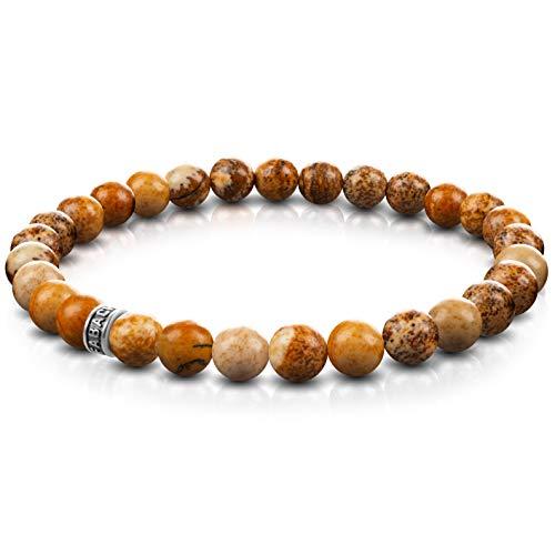 FABACH Jaspis Perlenarmband mit 6mm Edelstein-Perlen und 925 Sterling Silber Logo-Perle - Edles Naturstein Stretch-Armband für Damen (Braun-Gelb)