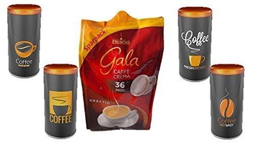"Eduscho Gala Crema, Kräftig 36 Kaffeepads, 252g Packung … Paddose ""James Premium"""