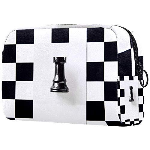 Bolsa de maquillaje TIKISMILE con patrón de ajedrez grande, bolsa de cosméticos,...