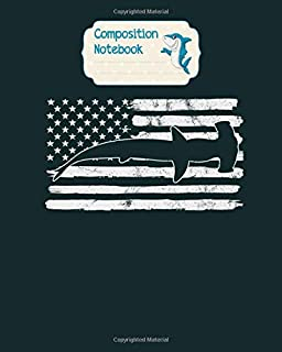 Composition Notebook: hammerhead shark usa flag 4th of july fourth vintage - for men woman Journal/Notebook Blank Lined Ruled 100 pages 8x10 inches
