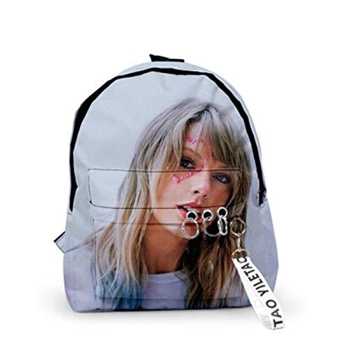 hjn Damen Freizeitrucksack, 3D Taylor Swift Muster Rucksack, Wasserdichtes Oxford Stoffmaterial, Große Kapazität