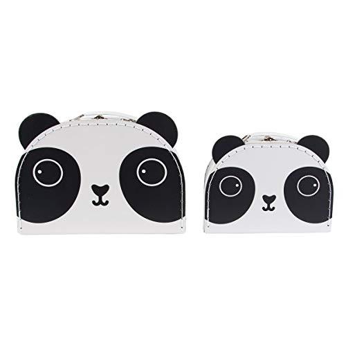 Zwei kleine Koffer Pandabär im Set - ideal zur Aufbewahrung von Bastelutensilien, Krimskrams, etc.