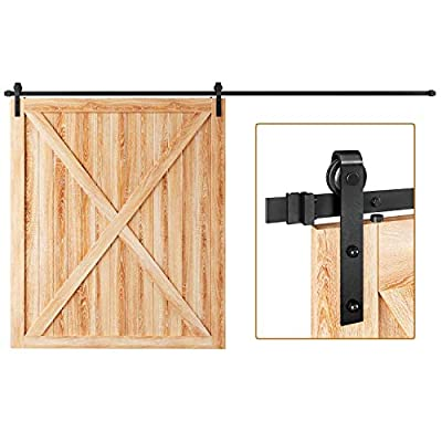 """EaseLife 12 FT Heavy Duty Sliding Barn Door Hardware Track Kit,Ultra Hard Sturdy,Slide Smoothly Quietly,Easy Install,Fit up to 72"""" Wide Door (12FT Track Single Door Kit)"""
