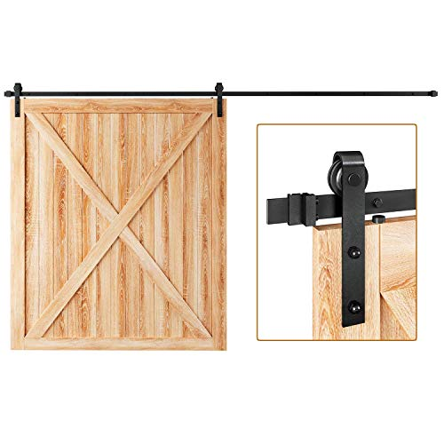 "EaseLife 12 FT Heavy Duty Sliding Barn Door Hardware Track Kit,Ultra Hard Sturdy,Slide Smoothly Quietly,Easy Install,Fit up to 72"" Wide Door (12FT Track Single Door Kit)"