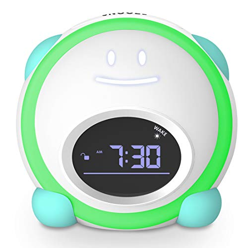Kids Alarm Clock, Little Tiddi Toddlers Alarm Clock, Children's Trainer Clock with Facial Expressions, Wake up Light, Sound Machine and Night Light, Nap Timer, Alarm Clock for Kids Boys Girls Bedroom