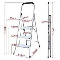 踏み台 兼用脚立 はしご 滑り止めトレッド付き3ステップ/ 4ステップスチールラダー、ポータブル折りたたみ脚立、多目的キッチンスツール、拡張ラダー、容量330lbs (Size : 4-Step)