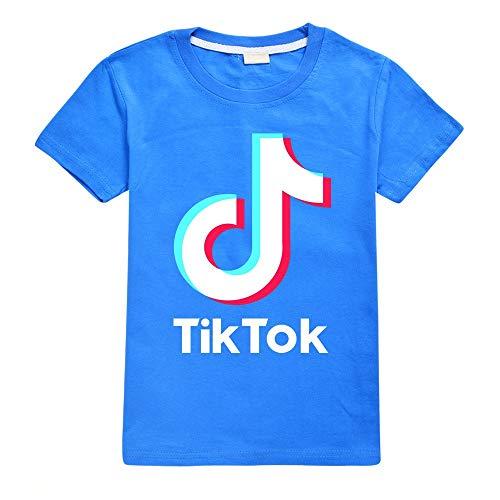 TIK TOK - Camisetas de algodón para niños y niñas Azul azul 170 cm