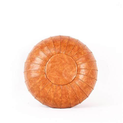 LIYONG Marokkanische pu-lederhouf Patchwork Handwerk bodensitz osmanischer fooc künstlicher Leder großes getrenntes sitzkissen HLSJ (Color : 02, Specification : 35cm)