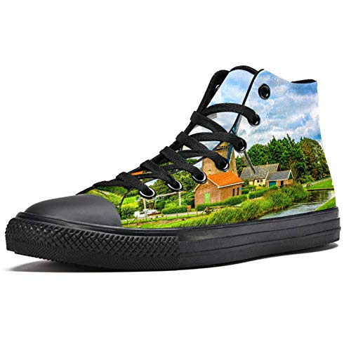 TIZORAX Windmill Farm River Landscape High Top Baskets pour femme Adolescent Gilrs Fashion Lace up Canvas Chaussures Casual School Walking Shoe - Multicolore - multicolore, 37.5 EU