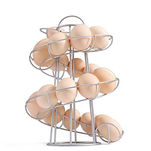 Fer Œuf Support, Spirale Design Œuf Étagère Rangement, Spiraling Distributeur Rack, Save Espace Rangement Présentation Rack, Cuisine Œuf Rangement Support, Spirale Œuf Panier - Argent