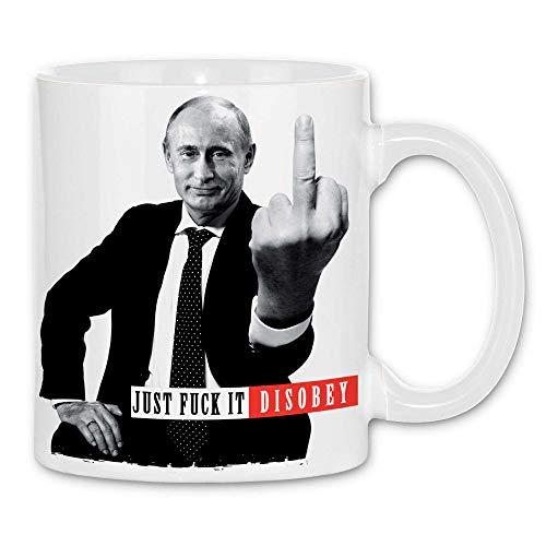 Royal Shirt rs31 Tasse Disobey | Putin Präsident Russland Moskau fuck Mittelfinger, Farbe :White