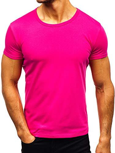 BOLF Herren T-Shirt Einfarbig mit Rundhalsausschnitt Kurzarmshirt Top Figurbetont Tee O-Neck Basic Männer Kurzarm Sportswear Crew Neck STEGOL AK999A Rosa (Dunkel) M [3C3]