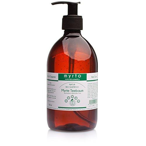myrto – Bio Shampoo Myrte Teebaum mild | ohne Alkohol -gegen fettiges Haar + verstärkt nachfettende Kopfhaut - 500ml