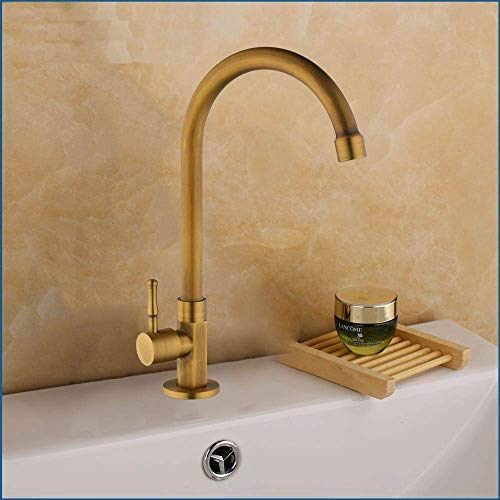 GFF Antique Brass Deck Mounted Sink Basin Faucet Bathroom Kitchen Single Cold Water Faucets Single Handle Tap