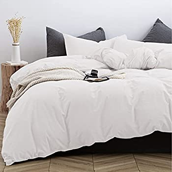 TIPTOE BEAR Duvet Cover Set 100% Washed Cotton 3 Piece Set with Zipper Closure Ultra Soft Breathable Chic Bedding Includes 1 Comforter Cover and 2 Pillow Shams Off White King Size 104 x 90