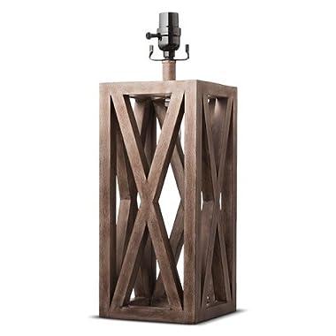 Washed Wood Box Lamp Base Large - Threshold™
