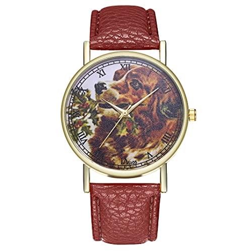 CloverGorge T105-A Fashion Women Ladies Dial Reloj de Cuarzo Relojes de Pulsera de Cuero