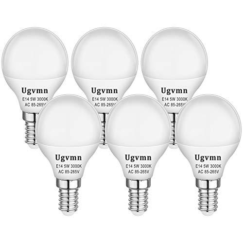 E14 LED Kleine Edison Schraube Golfball Glühbirnen 5W Entspricht 40 Watt Glühlampen, E14 Fassung LED SES Glühbirnen Warmweiss 3000K, 420LM, Kein Flimmern, Kein Dimmbar, AC 85-265V, 6er Pack