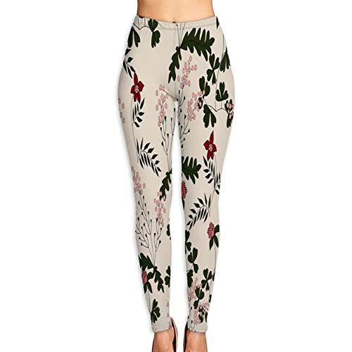 Pantalones de Yoga para Mujer,Patrones Sin Fisuras con Hierbas Dibujadas Mano Ladys,Pantalones de Entrenamiento de Cintura Alta Medias elásticas de Yoga Impresas XL