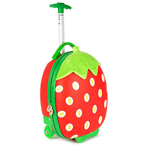 Boppi Tiny Trekker Kids Luggage Travel Suitcase Carry On Cabin Bag Holiday Pull Along Trolley Lighweight Wheeled Holdall 17 Litre Hand Case - Strawberry