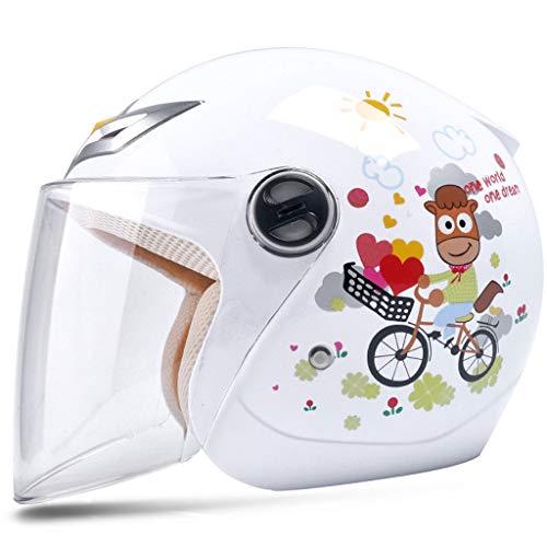 NJ Helm Kinderhelm fiets jongens meisjes baby vier seizoenen cartoon helm halve helm 30x21cm wit