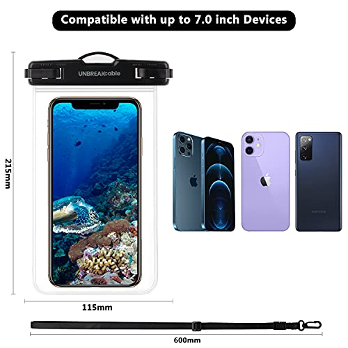 UNBREAKcable Universal Waterproof Pouch, IPX8 Waterproof Dry Bag Underwater Case for iPhone 12 Pro Max/11/Xs Max/XR/X/8 Plus Galaxy Pixel up to 7