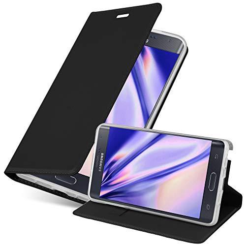 Cadorabo Hülle für Samsung Galaxy Note Edge - Hülle in SCHWARZ – Handyhülle mit Standfunktion & Kartenfach im Metallic Erscheinungsbild - Case Cover Schutzhülle Etui Tasche Book Klapp Style