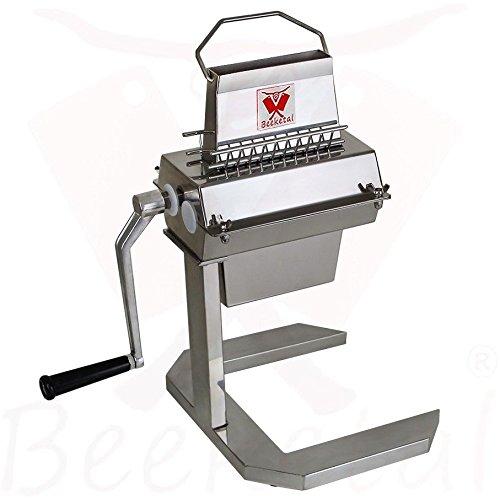 Beeketal 'BT-Silver125' Profi Steaker Fleischzartmacher mit 2 Edelstahl Messerwalzen und leichtgängiger Handkurbel, Gastro Fleischstecher mit 11x2 Messerreihen für schnelles Steaken (HACCP konform)