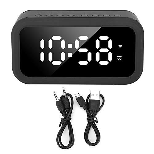 Emoshayoga Wecker Multifunktions wiederaufladbarer Bluetooth-Lautsprecher Stereo-Player LED Digitalanzeige Thermometer No Noise Hotel Büro Schlafzimmer Reisen(schwarz)