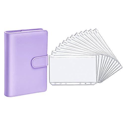 Jaimenalin Carpeta de Cuaderno de Cuero PU para Papel de Relleno Carpeta MagnéTica de Planificador Personal con 12 Carpetas Carpeta con Cremallera (Morado, A6)