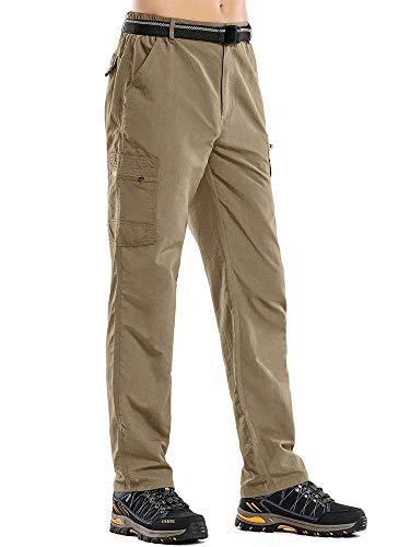 Men's Outdoor Cargo Hiking Pants Lightweight Waterproof Quick Dry Tactical Pants Khaki