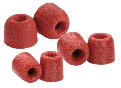 Comply T-100 Series - Almohadillas de espuma para auriculares (3 pares, aislamiento de ruido, tamaño S/M/L), color rojo