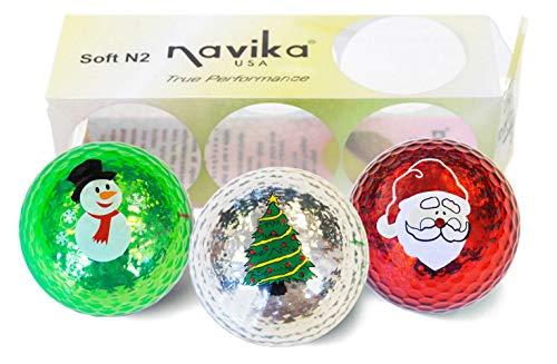 Navika Golf Balls- Assorted Christmas Imprinted on Metallic Chrome High Visibility Colors (3-Pack)