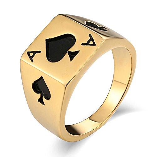 Gualiy Anillos Acero Inoxidable 13MMAnillo de Espada de póquer Rectangular Apara Hombre, niño, Padre, Esposo, Oro, Tamaño 22