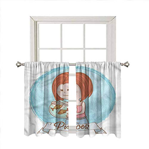 LCGGDB Zodiac Pisces Room Darkening Blackout Window Curtains,Girl Holding Aquarium Thermal Insulated Noise Reducing Short Curtain Panels for Kitchen Bedroom,42 x 45 Inch, 2 Panels