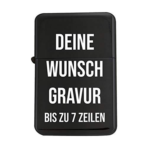 Feuerzeug mit Gravur - Sturmfeuerzeug mit eigener Gravur - 56 x 36 x 12 mm - schwarzes Metall - von Your Gravur, Motiv: Wunschgravur