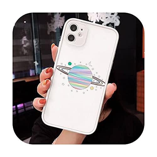 Astronaut Planet lindo dibujos animados teléfono casos mate transparente para iphone 7 8 11 12 plus mini x xs xr pro max lujo marca cover-a8-iPhone11