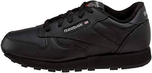 Reebok Little Kid/Big Kid Classic Leather Sneaker,Black,4 M US Big Kid