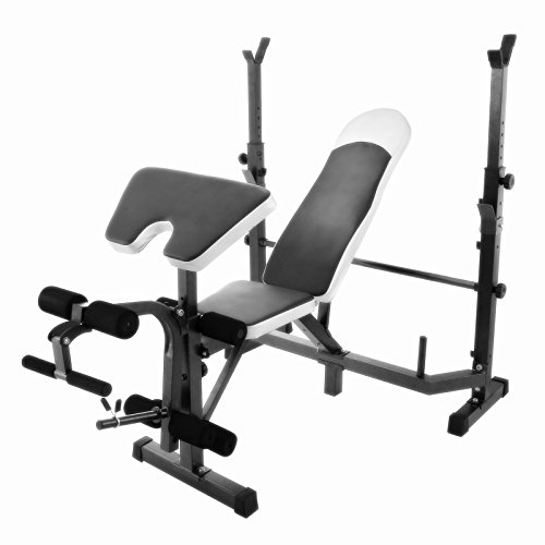 Popsport Weight Lifting Bench 440LBS Multi-Function Adjustable Weight Bench Inbuilt Leg Extensions Workout Bench for Home Fitness (Weight Bench 440LBS)