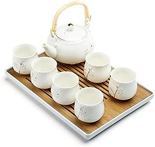ufengke Plum Blossom Lifting Handle Tea Set,Handmade Chinese Kungfu Tea Set,Porcelain Teapot & Teacups & Bamboo Tea Tray-White