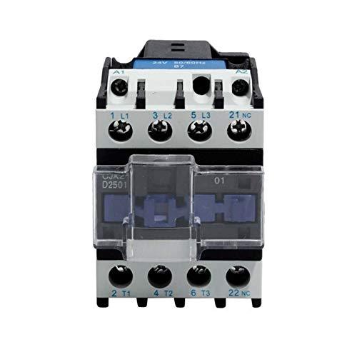 WNJ-TOOL, 1pc CJX2-2501 25A Contactor AC NC Normal Cerrado alterna Contactor de Corriente de 24V 36V 48V 110V 220V 380V Voltaje de la Bobina del contactor (tamaño : AC 24V)