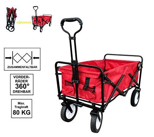 Izzy Bollerwagen faltbar Metall Faltwagen klappbar Strandwagen Transportwagen für alle Gelände (Handwagen - rot - faltbar - 80kg)