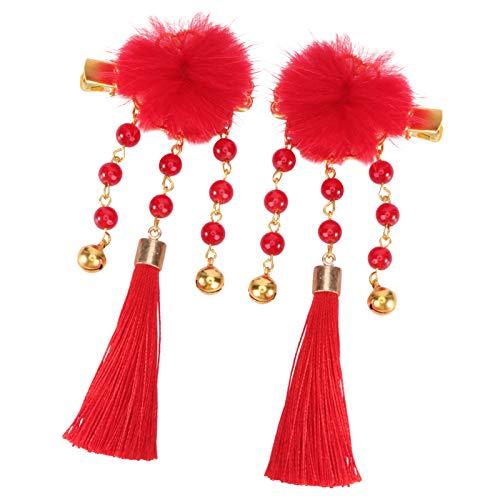 ABOOFAN Pinzas para El Cabello con Borlas Chinas Pinzas para El Cabello con Borlas de Cinta China Horquilla de Borlas Japonesas Chinas Pasadores de Año Nuevo Rojo con Campana de Perlas